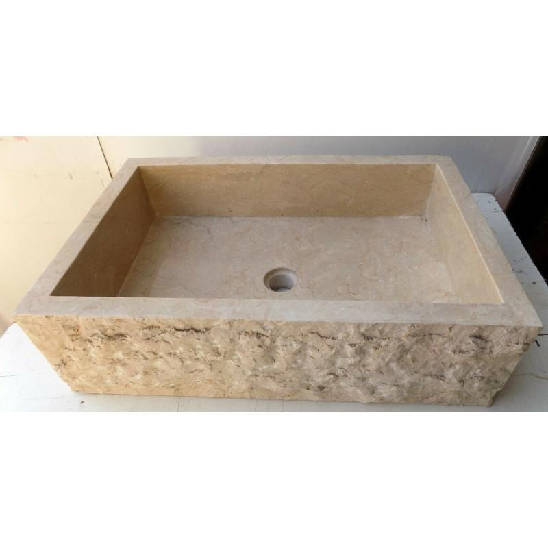 Lavandino Lavabo in marmo chiaro rettangolare