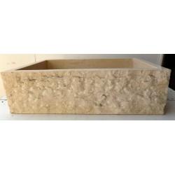 Lavandino Lavabo per il bagno in marmo chiaro rettangolare