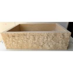 Lavabo da appoggio per il  bagno in marmo chiaro rettangolare