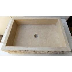 Lavandino da appoggio per il bagno in marmo chiaro , forma rettangolare