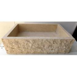 Lavandino da appoggio per il bagno in marmo chiaro , forma rettangolare frontale