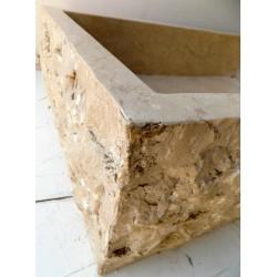 Lavandino da appoggio per il bagno in marmo chiaro , forma rettangolare ad angolo