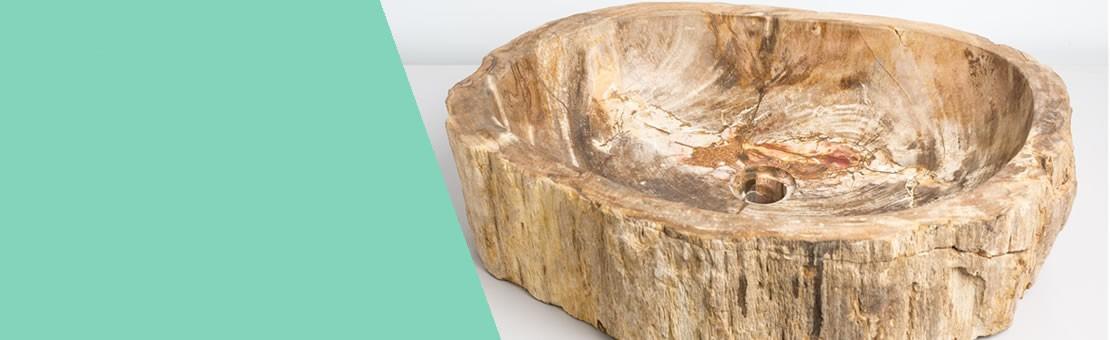 Lavandino Lavabo da appoggio in Pietra Legno Fossile
